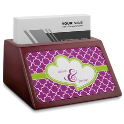 Clover Red Mahogany Business Card Holder (Personalized)