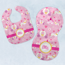Princess Carriage Baby Bib & Burp Set w/ Name or Text