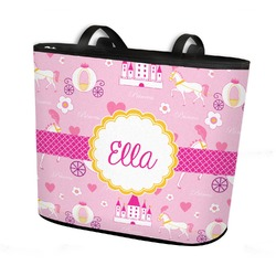 Princess Carriage Bucket Tote w/ Genuine Leather Trim (Personalized)