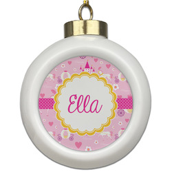 Princess Carriage Ceramic Ball Ornament (Personalized)