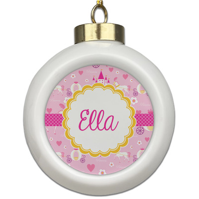 Princess Carriage Ceramic Ball Ornament (Personalized)