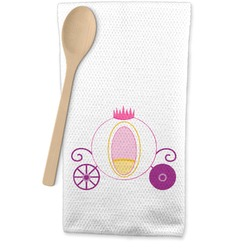 Princess Carriage Waffle Weave Kitchen Towel (Personalized)