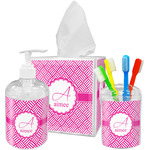 Square Weave Acrylic Bathroom Accessories Set w/ Name and Initial