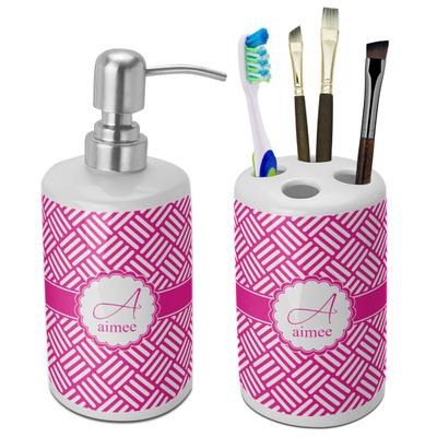 Square Weave Bathroom Accessories Set (Ceramic) (Personalized)