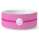 Square Weave Ceramic Dog Bowl (Personalized)