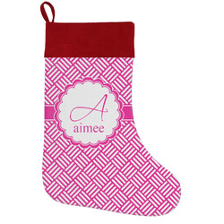 Square Weave Holiday Stocking w/ Name and Initial