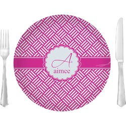 "Square Weave 10"" Glass Lunch / Dinner Plates - Single or Set (Personalized)"