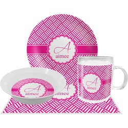Square Weave Dinner Set - 4 Pc (Personalized)