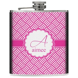 Square Weave Genuine Leather Flask (Personalized)
