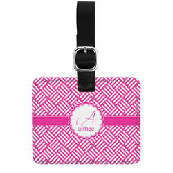 Square Weave Genuine Leather Luggage Tag w/ Name and Initial