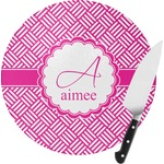 Square Weave Round Glass Cutting Board (Personalized)