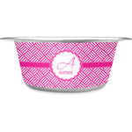 Square Weave Stainless Steel Dog Bowl (Personalized)