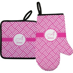 Square Weave Oven Mitt & Pot Holder Set w/ Name and Initial