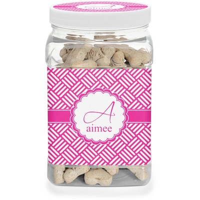 Square Weave Dog Treat Jar (Personalized)