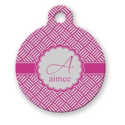 Square Weave Round Pet ID Tag (Personalized)