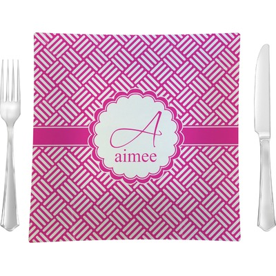 """Square Weave 9.5"""" Glass Square Lunch / Dinner Plate- Single or Set of 4 (Personalized)"""