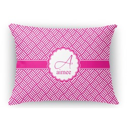 Square Weave Rectangular Throw Pillow Case (Personalized)