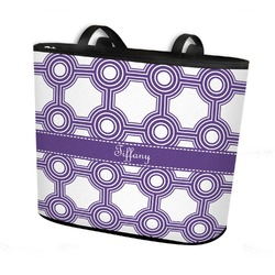 Connected Circles Bucket Tote w/ Genuine Leather Trim (Personalized)