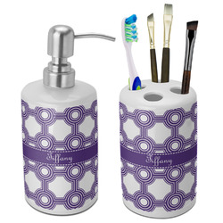 Connected Circles Bathroom Accessories Set (Ceramic) (Personalized)