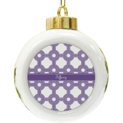 Connected Circles Ceramic Ball Ornament (Personalized)