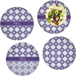Connected Circles Set of 4 Lunch / Dinner Plates (Glass) (Personalized)