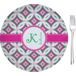 "Linked Circles & Diamonds Glass Appetizer / Dessert Plates 8"" - Single or Set (Personalized)"
