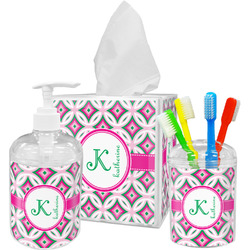 Linked Circles & Diamonds Bathroom Accessories Set (Personalized)
