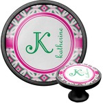 Linked Circles & Diamonds Cabinet Knob (Black) (Personalized)