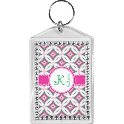 Linked Circles & Diamonds Bling Keychain (Personalized)