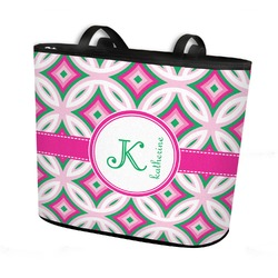 Linked Circles & Diamonds Bucket Tote w/ Genuine Leather Trim (Personalized)