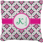 Linked Circles & Diamonds Faux-Linen Throw Pillow (Personalized)
