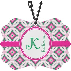 Linked Circles & Diamonds Rear View Mirror Charm (Personalized)