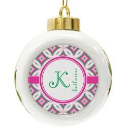 Linked Circles & Diamonds Ceramic Ball Ornament (Personalized)