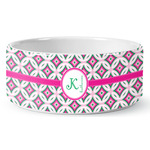 Linked Circles & Diamonds Ceramic Dog Bowl (Personalized)