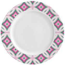 Linked Circles & Diamonds Ceramic Dinner Plates (Set of 4) (Personalized)