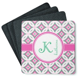 Linked Circles & Diamonds 4 Square Coasters - Rubber Backed (Personalized)