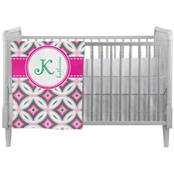 Linked Circles & Diamonds Crib Comforter / Quilt (Personalized)