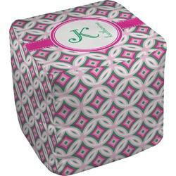Linked Circles & Diamonds Cube Pouf Ottoman (Personalized)
