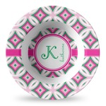 Linked Circles & Diamonds Plastic Bowl - Microwave Safe - Composite Polymer (Personalized)