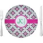 "Linked Circles & Diamonds Glass Lunch / Dinner Plates 10"" - Single or Set (Personalized)"