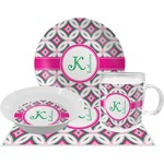 Linked Circles & Diamonds Dinner Set - 4 Pc (Personalized)