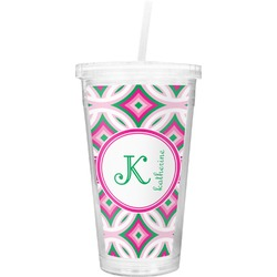 Linked Circles & Diamonds Double Wall Tumbler with Straw (Personalized)