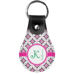 Linked Circles & Diamonds Genuine Leather  Keychains (Personalized)