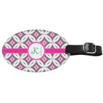 Linked Circles & Diamonds Genuine Leather Oval Luggage Tag (Personalized)
