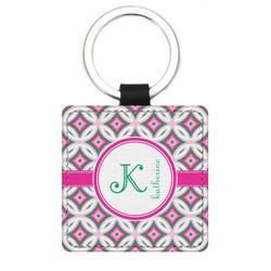 Linked Circles & Diamonds Genuine Leather Rectangular Keychain (Personalized)