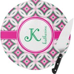 Linked Circles & Diamonds Round Glass Cutting Board (Personalized)