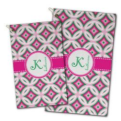 Linked Circles & Diamonds Golf Towel - Full Print w/ Name and Initial