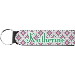 Linked Circles & Diamonds Neoprene Keychain Fob (Personalized)