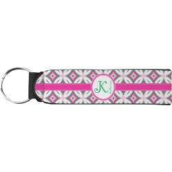 Linked Circles & Diamonds Keychain Fob (Personalized)