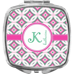 Linked Circles & Diamonds Compact Makeup Mirror (Personalized)